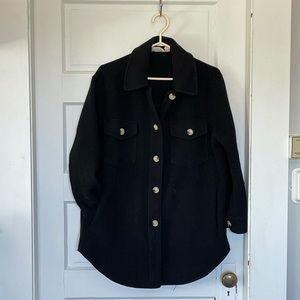 Black thick fabric jacket (Shacket)